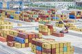 Shipping containers rows of colourful in port Stock Photo