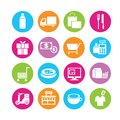 Shipping and customerservice icons set of in colorful buttons Royalty Free Stock Image