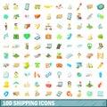 100 shipping icons set, cartoon style