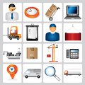 Shipping icons set of color buttons Stock Photo