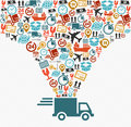 Shipping icons set Fast delivery truck concept ill Royalty Free Stock Photo