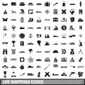 100 shipping icons set, simple style