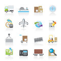Shipping and logistics icons Stock Images