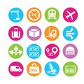 Shipping management icons logistic and in colorful round buttons Stock Photos