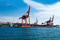 Shipping port and cranes Royalty Free Stock Photo