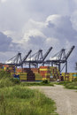 Shipping port a used for unloading and storing containers Royalty Free Stock Photo