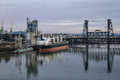 Shipping willamette river vessel on in front of steel bridge Stock Images