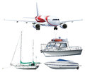 Ships and airplane on white background