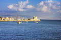 Ships in bay.Greece, Rhodes. Royalty Free Stock Photos