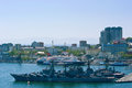 Ships at berth in the port on a sunny day. Vladivostok. Russia. 22.05.2015 Royalty Free Stock Photo