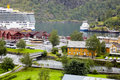 Ships and boats in Flam cruise harbour Stock Image