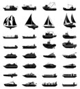 Ships and boats set. Barge and cargo ship, tanker, sailing vessel, cruise liner, tugboat, fishing and speed boat Royalty Free Stock Photo