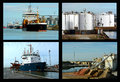 Ships and dockside imports collage views of the industrial where they have delivered their cargo Royalty Free Stock Images