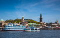 Ships at hamburg harbor germany may on may st is a city – its port located the river elbe is the Stock Photography