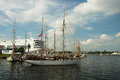 Ships in harbor riga latvia july th the second stage of the world cup the tall races riga view of the andrej july th Royalty Free Stock Photo