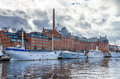 Ships in the harbor of Stockholm Royalty Free Stock Photo
