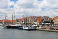 Ships in the port of Volendam. Royalty Free Stock Photo