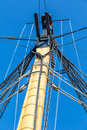 Ships rigging of ancient maintained sailing ship Royalty Free Stock Photography