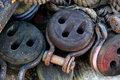 Ships rigging tackle on a dockside Royalty Free Stock Image