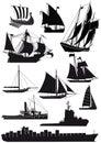 Ships and saiboats Royalty Free Stock Photo
