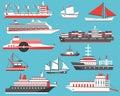 Ships Set. Passenger Cruise Ship, Yacht, Bulk Carrier and Sailbo