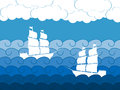 Ships on the waves, sailing medieval ship. Seascape. Vector Royalty Free Stock Photo