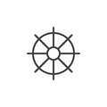 Ships wheel, helm line icon, outline vector sign, linear style pictogram isolated on white.