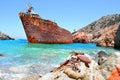 Shipwreck at amorgos island greece Stock Photos