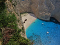 Shipwreck on the beach small boaters have come to see panagiotis navagio at zakynthos island greece Stock Image