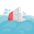Shipwreck cartoon eps image of a sinking ship in the ocean Royalty Free Stock Photo
