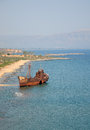 Shipwreck of the dimitrios is a greek on a sandy beach near gythio greece Royalty Free Stock Images