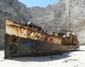 Shipwreck famous navagio beach zakynthos Royalty Free Stock Photo