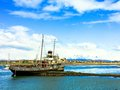 Shipwreck in the harbour of ushuaia patagonia argentina Royalty Free Stock Photography