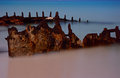 Shipwreck by moonlight at bulwer moreton island Royalty Free Stock Photography