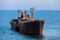 Shipwreck a near the beach in costinesti romania Royalty Free Stock Photo