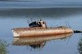 Shipwreck picture of a in a lake prespa macedonia Stock Image