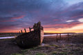 Shipwreck and sunset in east yorkshire hull Stock Image