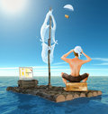 Shipwrecked but happy with e-commerce Royalty Free Stock Photo