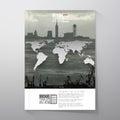 Shipyard and city landscape, world map vector