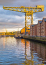 Shipyard crane on river clyde abandoned dockyard the at glasgow greenock where in the past there was a thriving ship building Royalty Free Stock Images