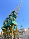 Shipyard cranes Stock Photos