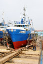 Shipyard fishing dock vessel after repairs in the władysławowo Royalty Free Stock Photography