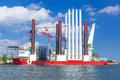 Shipyard in gdynia with wind turbine installation vessel poland Stock Images