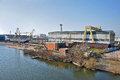 Shipyard industrial zone old and river danube Stock Photography