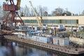 Shipyard on the neva river otradnoe town leningrad region russia Stock Photography