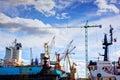 Shipyard. Ship under construction, repair. Industrial Royalty Free Stock Photo