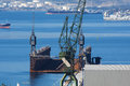 Shipyard view on a with cranes Stock Photo