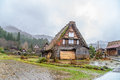 Shirakawa Go (Shirakawa-go) in Rainy Day, Japan Royalty Free Stock Photo