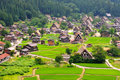 Shirakawago village japan bird eye view of Royalty Free Stock Images