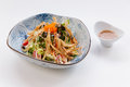 Shirauo Salad is Deep Fried Shirauo Fishes mixed with Salad Topping with Ebiko and Mayonnaise that Served with Sauce Royalty Free Stock Photo
